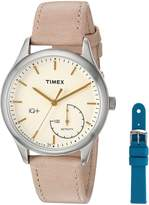Timex Women's TWG013500 IQ+ Move Activity Tracker Tan Leather Strap Smart Watch Set With Extra Teal Silicone Strap