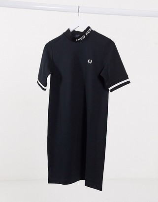 Fred Perry high neck dress with logo in black