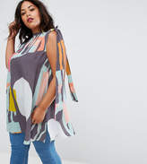 Asos Tunic with Tie Sleeve in Contemporary Print