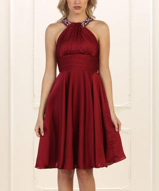 Mayqueen MayQueen Women's Special Occasion Dresses Burgundy - Burgundy Yoke Dress & Shawl - Women