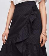 LOFT Eyelet Ruffle Wrap Skirt