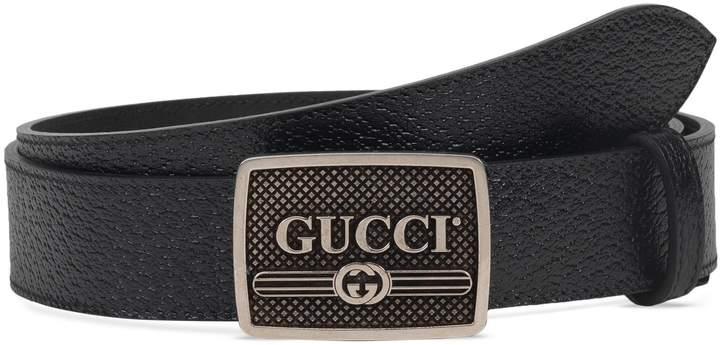 Gucci Plack Logo Leather Belt