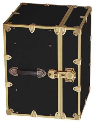 Pottery Barn Teen Canvas Dorm Trunk with Rubbed Brass Trim, Bedside, Black