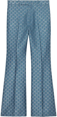 Gucci GG lame flare trousers
