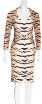 Roberto Cavalli Embellished Tiger Print Dress w/ Tags