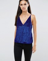 Asos Deep Plunge Cami Top in Sequin