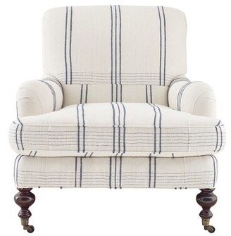 """Imagine Home Chatsworth 33"""" W Cotton Armchair Fabric: Natural/Navy Stripe"""