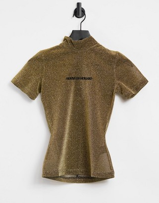 House of Holland glitter high neck t-shirt in gold
