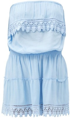 Melissa Odabash Joy Ruffled Strapless Mini Dress - Light Blue