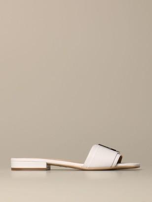 Sergio Rossi Flat Sandals Logomaniac Sandal In Leather
