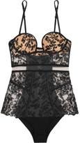 La Perla Autografo Satin-trimmed Embroidered Tulle Bodysuit - Black
