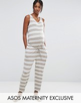 Asos LOUNGE Stripe Jumpsuit with Button Front