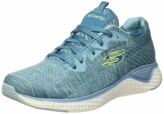 Skechers SOLAR FUSE-BRISK ESCAPE Women's Low-Top Trainers Blue (Gray Knit Mesh/Black Pink & Mint Trim Nvpk) 2 UK (35 EU)