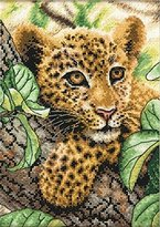"Dimensions Leopard in Repose"" Gold Petite Counted Cross Stitch Kit, Multi-Colour, 12 x 17 cm"