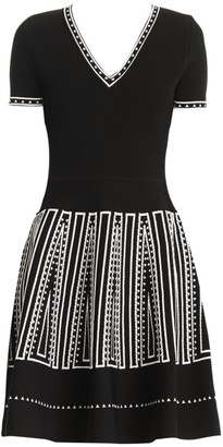 Carolina Herrera Graphic-Trim Short-Sleeve V-Neck Fit-&-Flare Dress