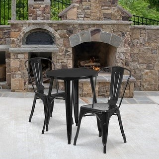 Lancaster Home 24'' Round Metal Indoor-Outdoor Table Set with 2 Cafe Chairs