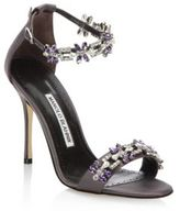 Manolo Blahnik Firaduo 105 Crystal-Embellished Satin Ankle-Strap Sandals