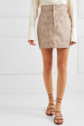 Michael Lo Sordo Snake-effect Faux Leather Mini Skirt - Animal print