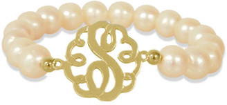 Jane Basch 22K Over Silver Lace 9.5-10Mm Pearl Initial Stretch Bracelet (A-Z)