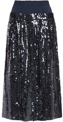 Tibi Sequined Silk-crepe Midi Skirt