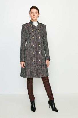 Karen Millen Tweed Military Double Breasted Coat