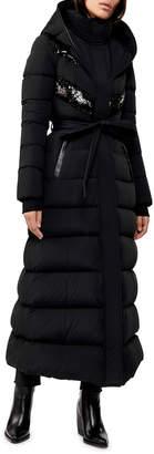 Mackage Long Hooded Down Coat w/ Sheepskin Bib
