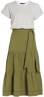 Veronica Beard Trail Mixed-Media Midi Dress