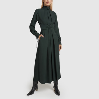 Victoria Beckham Mock-Neck Pleated Midi Dress