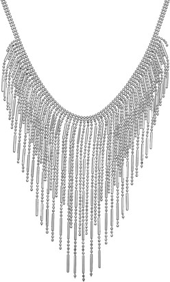 Sterling Silver Beaded Fringe Statement Necklace