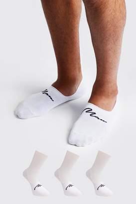 boohoo MAN Signature 3 Pack Invisible Sock