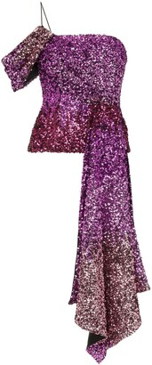 Halpern One Shoulder Draped Sequin Top