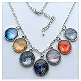 Happiness Home Solar system necklace, planet universe galaxy necklace, antique silver pendan...