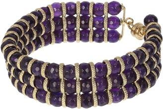 """Arte D'oro Arte d' Oro 18K Gold Triple-Row Gemstone Bead 7-1/4"""" Bracelet"""