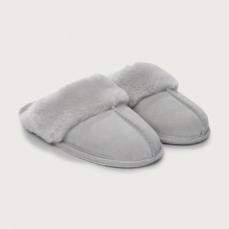 The White Company Suede Mule Slippers, Pale Grey, L[7/8]