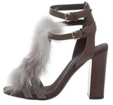 Brunello Cucinelli Fox Fur-Trimmed Sandals w/ Tags