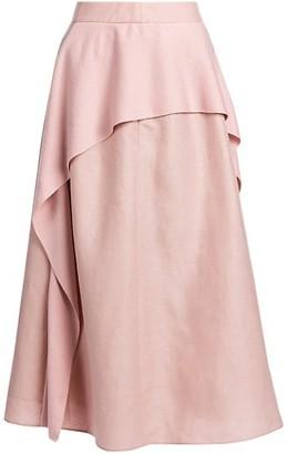 Agnona Linen-Blend Layered Panel Midi Skirt