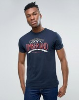 Timberland Mountain Logo T-Shirt Slim Fit in Navy