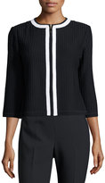 St. John 3/4-Sleeve Contrast-Trim Ribbed Jacket, Black/White