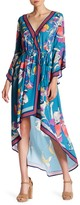 Flying Tomato Floral Asymmetrical Bell Sleeve Faux Wrap Hi-Lo Dress