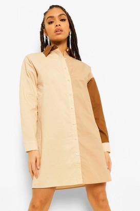 boohoo Cotton Mix Colour Block Oversize Shirt Dress