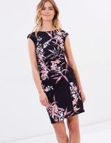 Wallis Fern Floral Rouched Side Dress