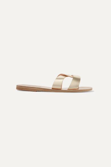 Ancient Greek Sandals Desmos Cutout Metallic Leather Slides - Gold
