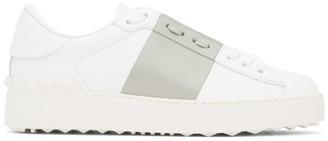 Valentino White and Grey Garavani Rockstud Open Sneakers