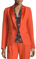 Foundrae Sharp Open-Front Crepe Jacket, Flame