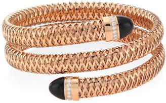 Roberto Coin Primavera 18K Rose Gold, Black Jade & Diamond Coiled Cuff Bracelet