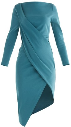 Paisie Sydney Draped Dress In Turquoise