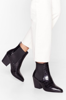 Nasty Gal Womens It's Croc Over Faux Leather Chelsea Boots - Black