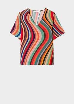 Women's 'Swirl' Print V-Neck Silk T-Shirt