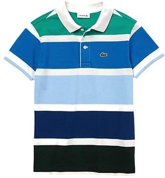 Lacoste Kids Short Sleeve Classic Big Stripes Polo (Infant/Toddler/Little Kids/Big Kids) (Flour/Utramarine/Greenfinch) Boy's Clothing
