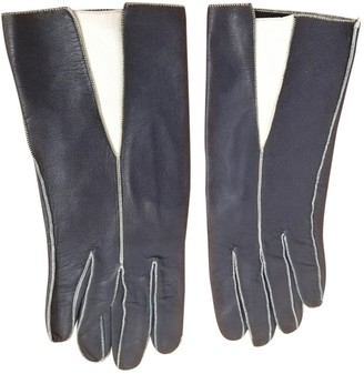 Christian Dior Navy Leather Gloves